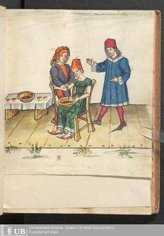 "Salasso, immagine dal libro di novelle  ""I sette maestri sapienti"", 1471, Universitätsbibliothek, Francoforte sul Meno, ms.germ.qu.12"