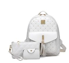 Ladies Quality PU Leather Rivet-Accent Fashion Backpack 3 Colors
