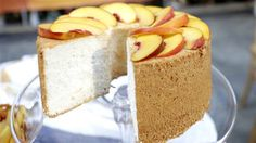 Finish dinner with light, sweet angel food cake with peaches and cream