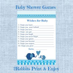 #Elephant #Themed #Boy #Baby #Shower  #Wishes #for  #baby by 2RabbitsPrintEnjoy