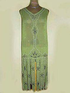 "Chiffon beaded 1920s dress with tabbed ""carwash"" hem."