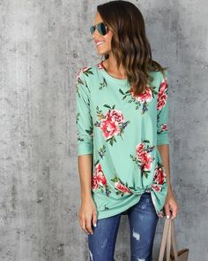 Marie Floral Knot Top - Mint