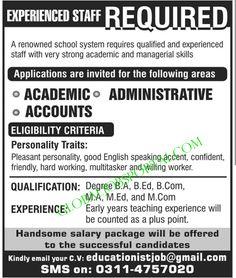 academic administrative accounts jobs in pakistan