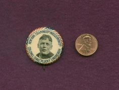 """VINT. 1 1/4"""" CELLO PINBACK BUTTON COLONEL CHARLES """"PLUCKY"""" LINDBERGH NY -PARIS"""