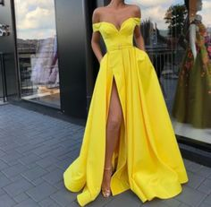 Yellow Sexy Split Prom Dresses Long A Line Satin Off Shoulder Plus Size Elegant Formal Evening Gowns 2019 African Special Occasion Dress - Top Tutorial and Ideas Split Prom Dresses, A Line Prom Dresses, Strapless Dress Formal, Formal Dresses, Dress Prom, Prom Gowns, Party Dresses, Dresses Dresses, Long Dresses