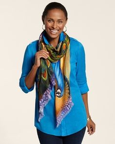 Chico's Playful Peacock Scarf #chicos