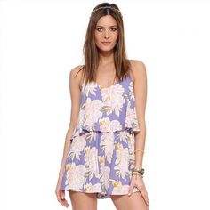 4ee031b98e8a Purple Floral V-neck Spaghetti Strap Layered Romper Playsuit. Jumpsuits For  WomenPlaysuit RomperRuffle ...