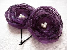 Purple Flower Hair Pins Plum Fabric Flower Bobby Pins by Nomsa, $14.00