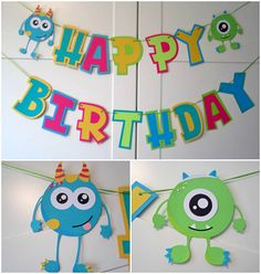 Party banner – Monster theme party decor Cute little party monsters! I can customize in any available colors. monsters Height inches x inches wide ** Listing Colors may vary depending on availability. Monster First Birthday, Monster 1st Birthdays, Monster Birthday Parties, 1st Boy Birthday, First Birthdays, Monster Decorations, Fiesta Party Decorations, Birthday Party Decorations, Halloween Decorations
