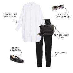 Leggings are, without a doubt, the most-worn item in our closets—but how do you take them from gym to brunch? Here are six outfits to dress them up. Summer Work Outfits, Office Outfits, Mode Outfits, Office Wear, Casual Outfits, Fashion Outfits, Womens Fashion, Casual Office, Office Uniform