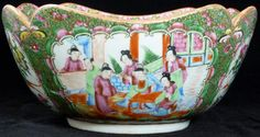 ANTIQUE CHINESE ROSE MEDALLION SQUARE BOWL Fabulous Chinese Rose Medallion Bowl. Bowl depicts scenes of women and birds