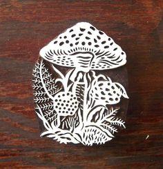 Hand Carved Mushroom Woodland Wood Stamp by PrintBlockStamps Indian Prints, Indian Art, Textile Printing, Printing On Fabric, Pattern Design, Print Design, Diy And Crafts, Arts And Crafts, Wood Stamp