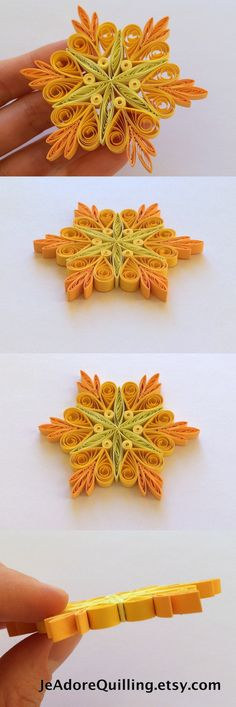 Snowflakes Yellow Orange Christmas Tree Decor Winter Ornaments Gift Toppers Fillers Office Corporate Paper Quilling Quilled Handmade Art