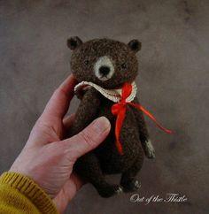 Artist Brown Bear Vintage Style Collar Crochet Felted Fiber Thread Bears™   eBay