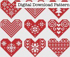 Modern Cross Stitch Patterns, Cross Stitch Designs, Stitching Patterns, Cross Stitching, Christmas Hearts, Christmas Cross, Christmas Ornaments, Crochet Flower Patterns, Crochet Flowers