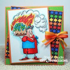 Burnadette (Sku#U1484) Art Impressions Golden Oldies.  Handmade birthday card.
