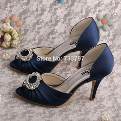 39.56$  Watch here - http://aliob1.shopchina.info/1/go.php?t=32556696025 - Wedopus Name Brand Women Dark Blue High Heel Shoes Wedding Bridal Peep Toe Pumps  #buyonline