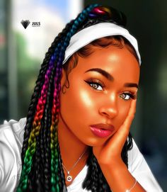 Excellent Hairstyle Ideas for Black Women of African American Ethnicity braids braided hairstyles cornrows cornrows braids box braids poetic justice braids triangle box b. Natural Hair Art, Pelo Natural, Natural Hair Styles, Art Black Love, Black Girl Art, Art Afro Au Naturel, Drawings Of Black Girls, Black Girl Cartoon, Pelo Afro