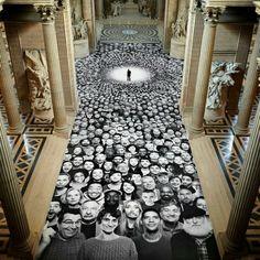 JR Spruces Up Paris Scaffolding with 500 Faces