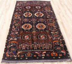 "3'5""x6'6"" Hand Knotted Wool Persian Balouch Unique Blue Tribal Oriental Area Rug 