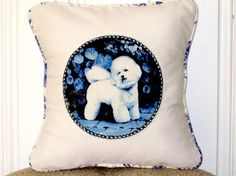 """shabby chic, feed sack, french country, delft Bichon Frise graphic with toile welting 14"""" x 14"""" pillow sham. by kreativbyerika on Etsy https://www.etsy.com/listing/101265413/shabby-chic-feed-sack-french-country"""