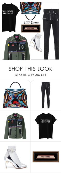 """100 years  - Votes for Women"" by frenchfriesblackmg ❤ liked on Polyvore featuring Fendi, Unravel, Miu Miu and Nicholas Kirkwood"