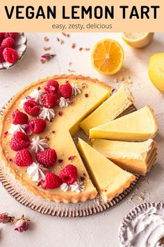 Simple vegan lemon tart with a classic buttery shortcrust pastry and creamy lemon filling. Light, zesty and uses only 6 key ingredients!