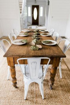 New Farmhouse dining room table and chairs. DIY farmhouse table and gray armchair with nail head details. A beautiful Neutral Modern Farmhouse Dining Room Read French Country Dining Room, Farmhouse Dining Room Table, Dining Room Furniture, Dining Set, Furniture Ideas, Dinning Chairs, Modern Furniture, Dining Decor, Small Dining