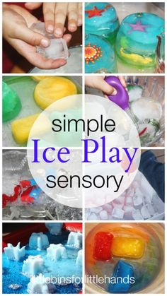 Ice Day to celebrate our unit on Antartica: ice play simple sensory activities round up Sensory Table, Sensory Bins, Sensory Activities, Sensory Play, Learning Activities, Preschool Activities, Kids Learning, Winter Activities, Sensory Bottles