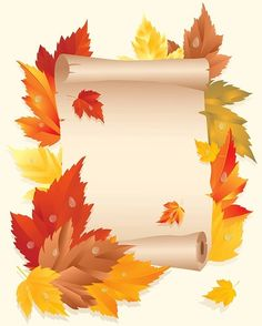 """Photo from album """"Осенние фоны"""" on Yandex. Fall Crafts, Diy And Crafts, Crafts For Kids, Paper Crafts, Image Halloween, Fall Halloween, Boarder Designs, Notebook Cover Design, School Frame"""