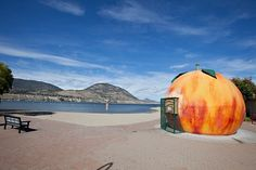 Penticton, BC- Home to Okanagan Lake (best non-Caribbean beach) and the Ogopogo Monster! We will have to take a picture with the peach Places To Travel, Places To See, Roadside Attractions, Canada Travel, Bc Home, British Columbia, Beautiful Places, National Parks, The Good Place