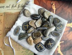 Welsh SEA STONE RUNES. Rune Stones & Pouch by wildseawitch
