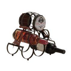 Woodland Imports Unique Barrel Themed Antique 5 Bottle Tabletop Wine Rack & Reviews   Wayfair