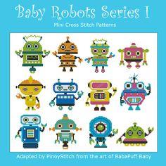 Baby Robots Series I  Minis Cross Stitch PDF Chart by PinoyStitch, $7.50