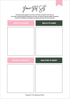I am so in love with these Happiness Planner Boxes! This one is a Self Awareness box with 30 questions that will help you become more self-aware, and know & understand yourself better. Planner Pages, Printable Planner, Goals Printable, Free Printables, Vision Board Template, Therapy Worksheets, Cbt Worksheets, Journal Writing Prompts, Bullet Journal