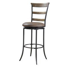 Charleston Ladder-Back Swivel Bar Stool, Brown