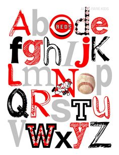 8 x 10 CINCINNATI REDS baseball ABC Nursery Art Print. $15.00, via Etsy.