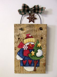 Colorful Dressed Snowman Hand Painted on Barn by barbsheartstrokes