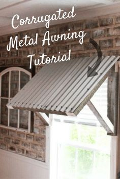 Corrugated Metal Awning DIY Hi, friends! If you all know me, you know I've been wanting a corrugated metal awning forever! I've begged my husband for well over a year now. We have a single window in our kitchen and it needed to… Metal Building Homes, Building A House, Building Ideas, Metal Homes, Blue Building, Cheap Home Decor, Diy Home Decor, Ideas Terraza, Diy Awning