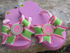 CHILDRENS FLIP FLOPS Hot Trax Stripe Bows & by FlipFlopsforAllShop