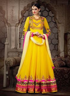 Fascinating Yellow Embroidery Work Net AnarkalI Suit, Product Code :6164, shop now http://www.sareesaga.com/fascinating-yellow-embroidery-work-net-anarkali-suit-6164  Email :support@sareesaga.com What's App or Call : +91-9825192886