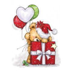 Wild Rose Studio Stamp Teddy behind Present - Noel Christmas Drawing, Christmas Paintings, Christmas Art, All Things Christmas, Christmas Ornaments, Illustration Noel, Christmas Illustration, Illustrations, Christmas Clipart