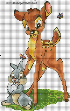 Bambi #CrossStitich #EmbroideryDesign get more from http://www.digitemb.com/free-digitized-designs