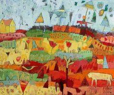 Jane Filer - Umbrella Grove, 21.5x25.5, acrylic on canvas
