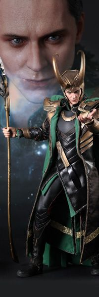 Loki Sixth Scale Figure - The Avengers    Sideshow Collectibles and Hot Toys are proud to present the Loki Sixth Scale Limited Edition Collectible figure inspired by Marvel Studios smash hit The Avengers. The movie-accurate collectible is specially crafted based on the image of Tom Hiddleston as Loki, highlighting the newly developed head sculpt, highly detailed costume, weapons and accessories.