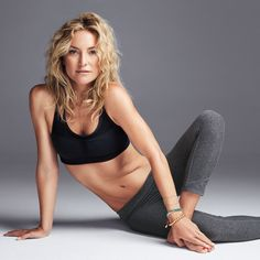 Get flat abs and a toned butt with the Kate Hudson's 4 favorite Pilates exercises....do in order, 3-5 Xs week...roll-up, double leg stretch, ronde de jambe, hot potato