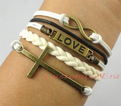 Infinity Love & Cross BraceletAntique Silver by CustomizeEra, $4.99