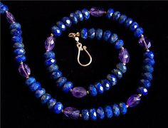 Faceted royal Lapis Lazuli and Amethyst necklace in Gold vermeil