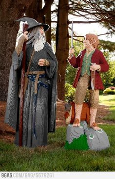 Gandalf and Bilbo in Lego. My favorite part is Bilbo's feet hair.