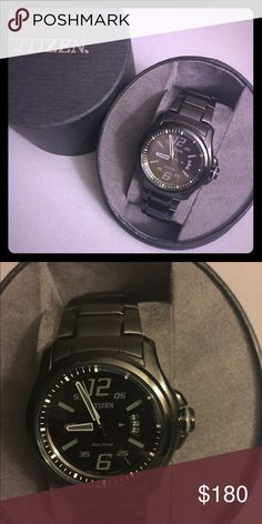 Men's Citizen watch Black stainless steel watch. Never been worn. Comes with case box and tag. Sleek and sporty design. Solar powered does not need a battery. Tags attached Citizen Accessories Watches